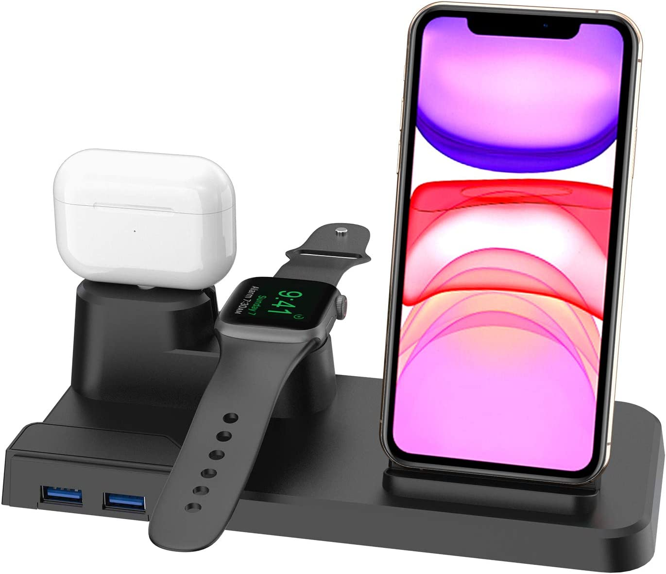 Wireless Charger, Qi 7.5W Fast Wireless Charging Stand Compatible iPhone 11/11 Pro/11 Pro Max/XS Max/XS/X/8/8+, 3 in 1 Charging Dock Organizer Station Compatible Apple Watch,AirPods-No AC Adapter