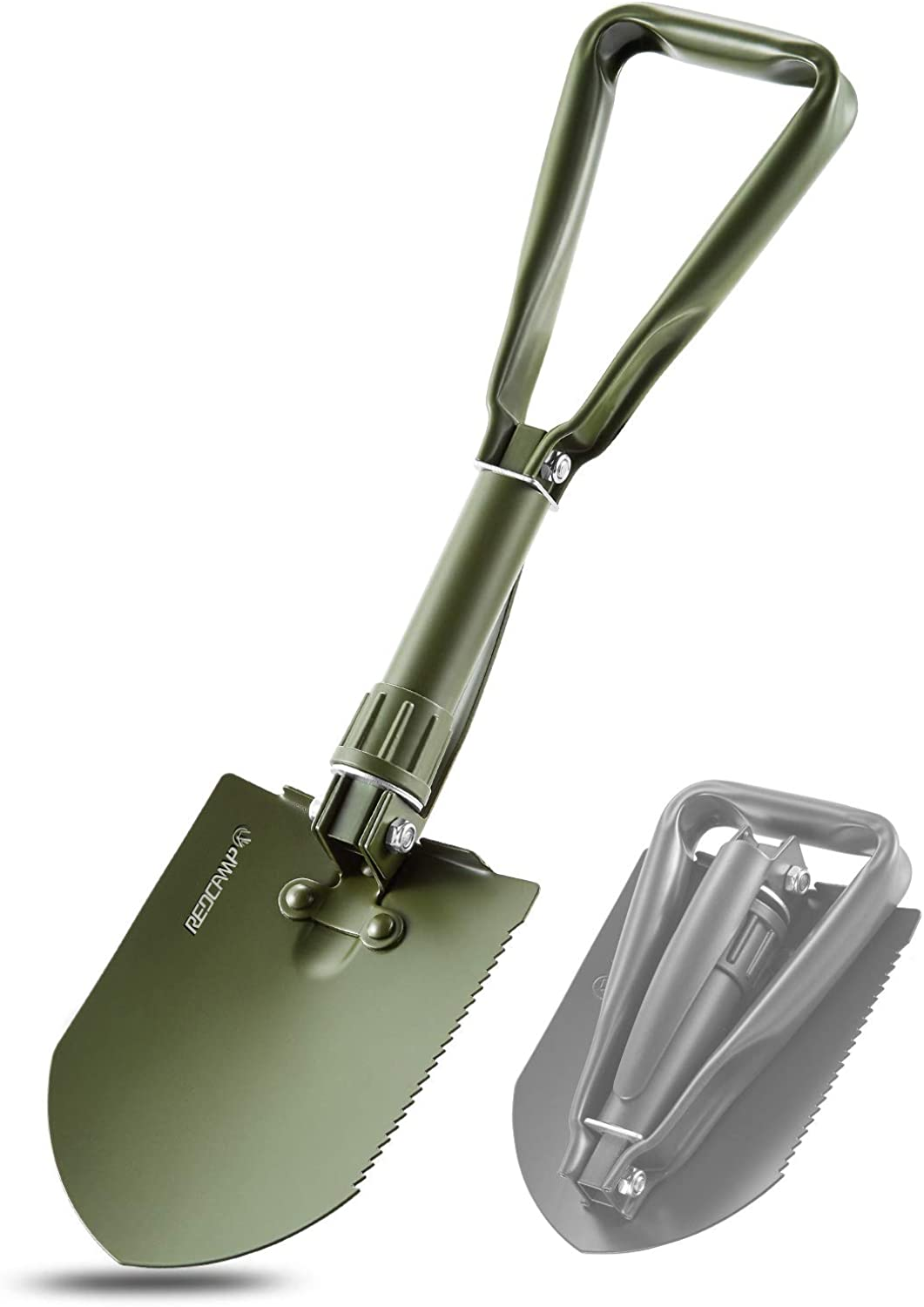REDCAMP Military Folding Camping Shovel,High Carbon Steel Entrenching Tool Tri-fold Handle Shovel with Cover