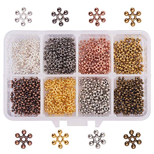 PH PandaHall 400pcs 8 Colors Tibetan Alloy Snowflake Spacer Beads Metal Spacers for Bracelet Necklace Jewelry Making (8.5x2.5mm, Hole: ()