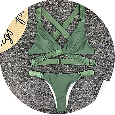 Heroic spirit Green Bandage Cross Back Bikini Sexy Swimsuit Swimwear Women Two-Piece Bikini Set Black Bather Bathing Suit