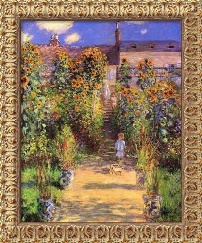 (Canvas Art Framed 'The Artist's Garden at Vetheuil, 1880' by Claude Monet: Outer Size 20 x 24