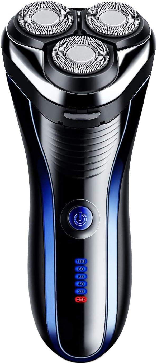 Men's Electric Foil Shaver Máquina de Afeitar eléctrica para los Hombres Rotary maquinilla de Afeitar eléctrica de Afeitar con Pop-up de Recorte a Prueba de Agua inalámbrico Recargable - USB de Carga
