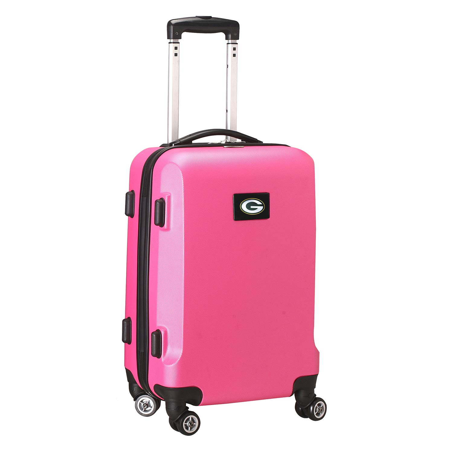 Denco NFL Green Bay Packers Carry-On Hardcase Luggage Spinner, Pink