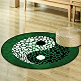 Ying Yang Decor Circle carpet by Nalahomeqq Digital Made Yin Yang Form Nature Zen Themed Meditation Decor Dots Design Print Room Accessories Extralong Green Black White-Diameter 150cm(59'')