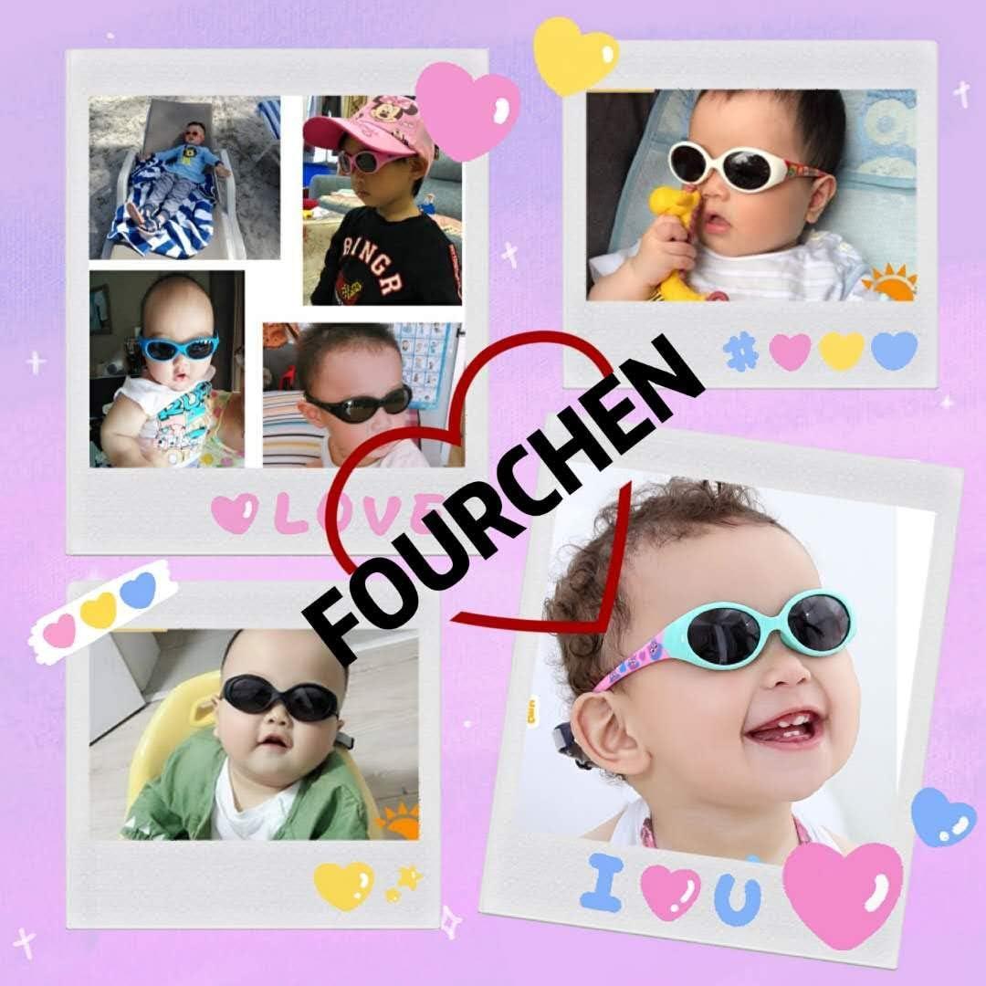FOURCHEN Occhiali da sole polarizzati per bambini TPEE flessibile in gomma per le ragazze da 0 a 3 anni
