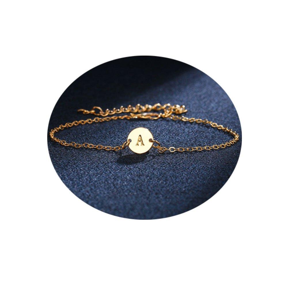 WLLAY Minimalist Initial Adjustable Women Bracelet 26 Letters Girl Personality Golden A-Z Bangle Fashion Jewelry Gift