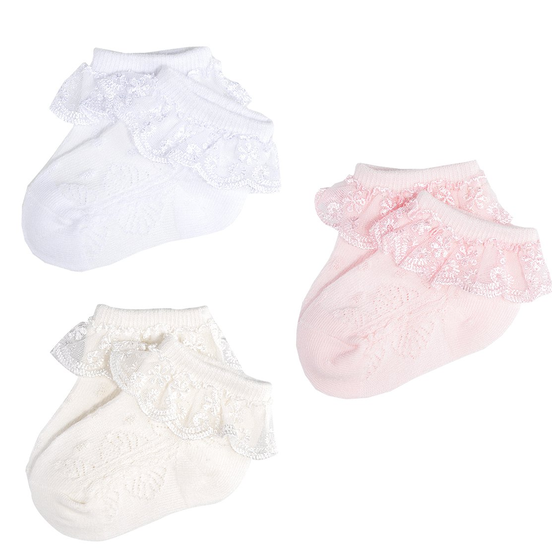 Epeius 3 Pair Baby-Girls Eyelet Frilly Lace Socks Princess Ankle Socks White/Pink/Off White 12-24 Months