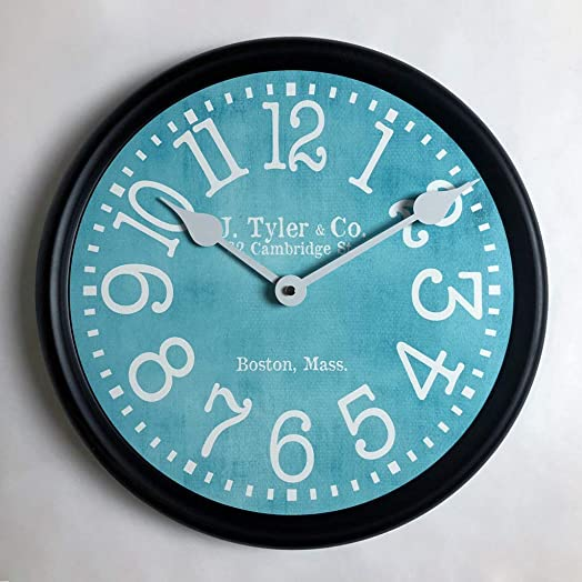 Turquoise Wall Clock, Available in 8 Sizes, Most Sizes Ship The Next Business Day, Whisper Quiet.