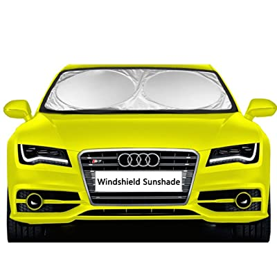 "EveShine Car Windshield Sunshade Sun Shade UV Auto Protector (63"" x 31.5"") - Pop Up Style Retractable Sun Screen Front Window Sun Shade - Fits Most Universal Family Cars: Automotive"