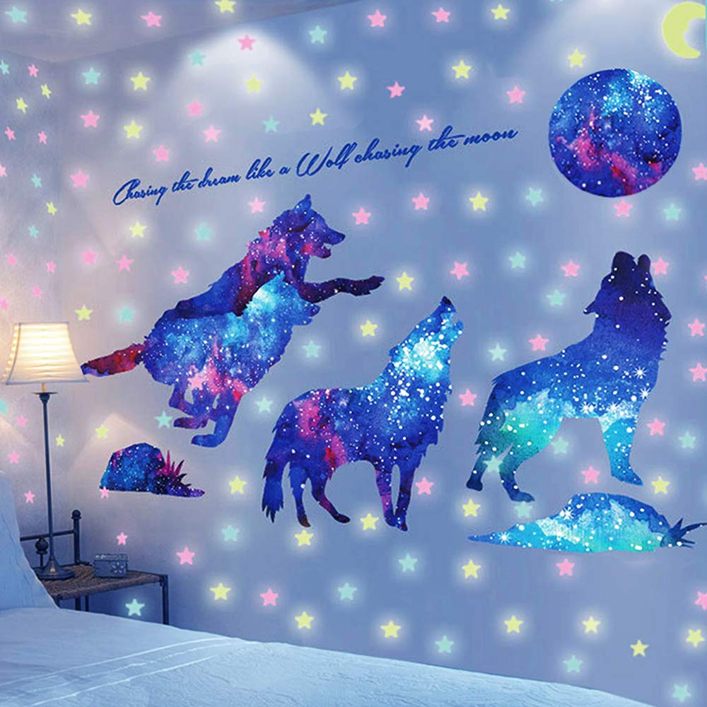 Creative Starry Sky Wolf Wall Decal, AUHOKY Glow in The Dark Moon& Stars Wall Stickers, Removable Galaxy Wolf Adhesive Mural Wallpaper for Kids Teen Bedroom Nursery