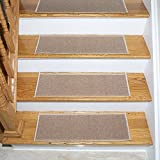 Ottomanson Skid-Resistant Rubber Backing Non-Slip Carpet Stair Treads-Machine Washable Area Rug(Set of 7), 8.5