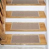 Ottomanson Skid-Resistant Rubber Backing Non-Slip Carpet Stair Treads-Machine Washable Area Rug(Set of 7), 8.5'' x 26.5'', Dark Beige