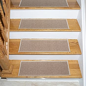 Ottomanson Set Variation of Skid-Resistant Rubber Backing Non-Slip Carpet (8.5″ x 26.5″-14Pack, Darkish Beige) Stair Tread, 14 Pack