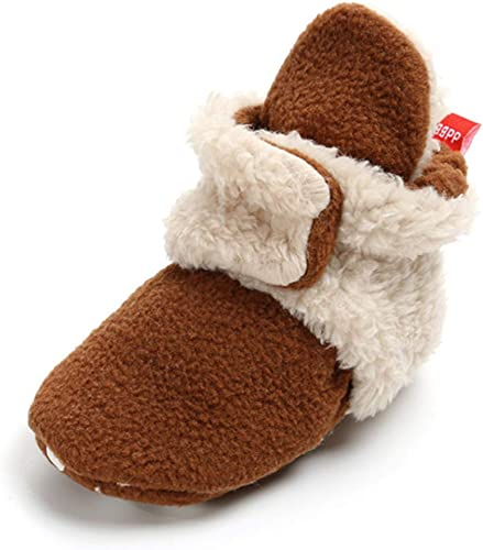Mybbay Newborn Baby Boy Girl Soft Fleece Booties Stay On Slippers Shoe Non Skid Infant Toddler First Walkers House Socks Winter Crib Shoes