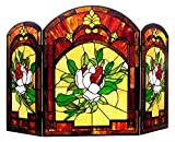 Chloe Lighting Iggy Tiffany-Glass Floral Design 3pcs Folding Fireplace Screen 42'' Wide