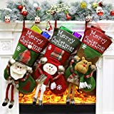 """how to decorate a small bedroom Aitey Christmas Stocking, 18"""" Big Stockings Set of 3 Xmas Character Santa, Snowman, Reindeer 3D Plush Christmas Home Decorations Party Accessory Kids (Long Leg)"""