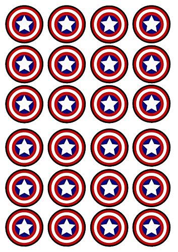 24 Captain America Shield Edible PREMIUM THICKNESS SWEETENED VANILLA, Wafer Rice Paper Cupcake -