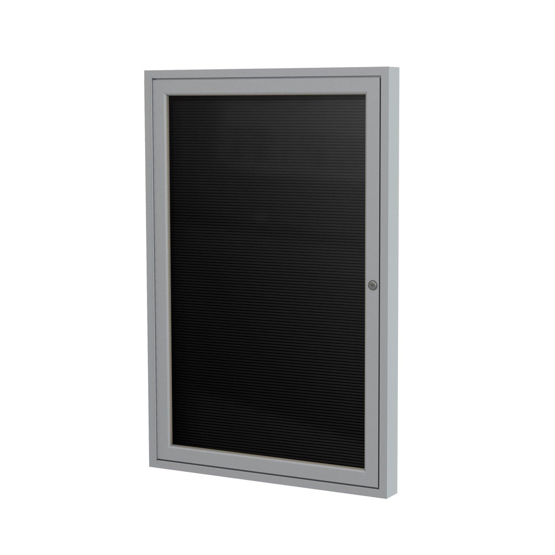 "Ghent 3"" x 2""  1 Door Outdoor Enclosed Vinyl Letter Board, Black, Satin Aluminum Frame"