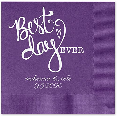 Best Day Ever Heart Personalized Beverage Cocktail Napkins - 100 Custom Printed Violet Purple Paper Napkins with choice of -