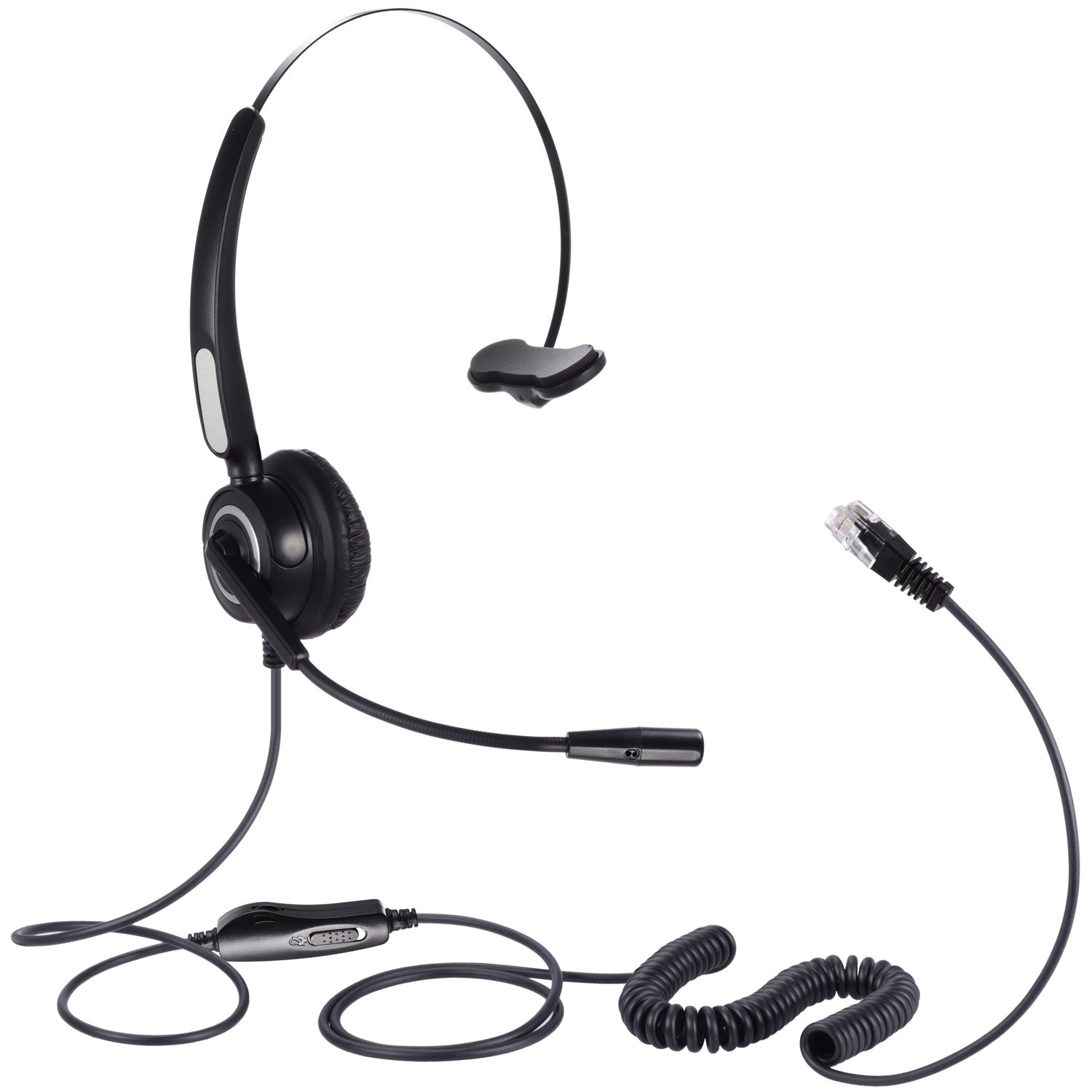 Hands-free Corded Headset, SoulBay Call Center RJ9 Monaural Telephone with 4-Pin RJ9 Crystal Head for Desk Phone Telephone, Suits Phone Sales, Banks and Telecom Operator - [Headset Adapter Included]