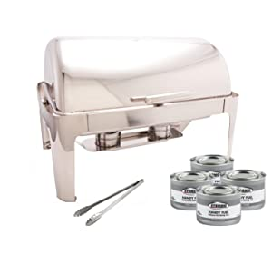 PrestoWare PWR-1RE, Full-size Roll-Top Chafer, Stainless Steel 8 Quart Chafing Dish Set with 2 Chafing Dish Methanol Gel Fuel and 16-Inch Stainless Steel Multi-Function Tong