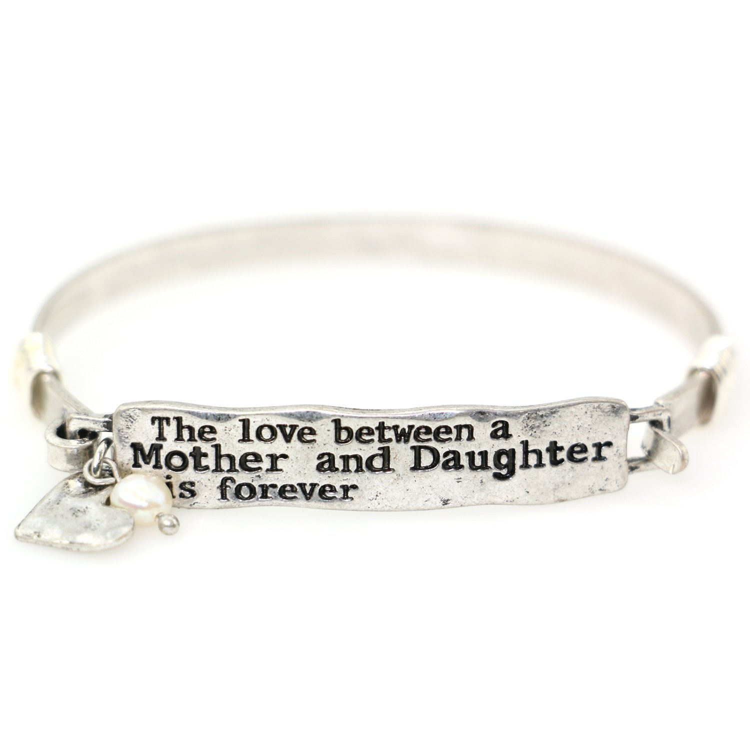 The Love Between A Mother and Daughter is Forever Handmade Mother Daughter Bangle Bracelet with Heart Charm for Women Girl Teen Her Gift