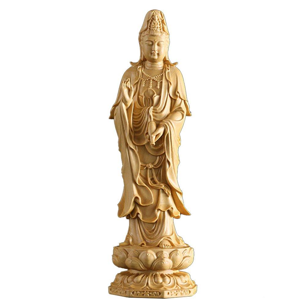 Suicazon [御金品] 高品質 手作り 仏像 ツゲの木彫り 阿弥陀三尊 観音菩薩 20cm B01NAU24J3 20cm|観音菩薩 観音菩薩 20cm