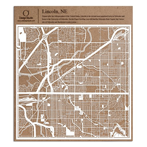Lincoln, NE Paper Cut Map by O3 Design Studio White 12x12 inches Paper - Lancaster Park City