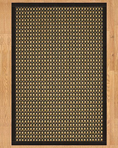 NaturalAreaRugs Seaside Collection Sisal Area Rug, Handmade in USA, 100% Sisal, Non-Slip Latex Backing, Durable, Stain Resistant, Eco/Environment-Friendly, (3 Feet x 5 Feet) Black - Slip Sisal Rug Latex Non