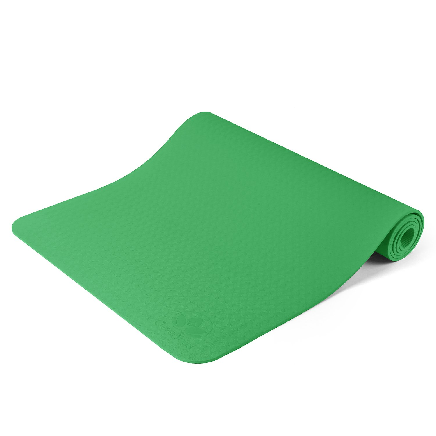 Non Slip Yoga Mat - Longer And Wider Than Other Exercise Mats - ¼-Inch Thick High Density Padding To Avoid Sore Knees During Pilates, Stretching & Toning Workouts - For Men & Women - From Clever Yoga
