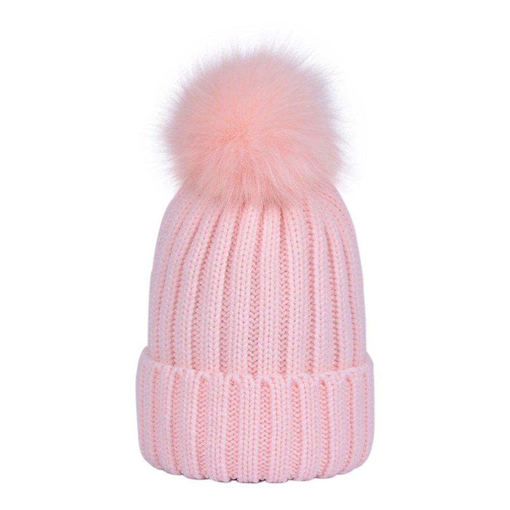 LAUSONS Berretto a coste donna con pompon in pelliccia sintetica rimovibile cappelli lavorato a maglia invernali