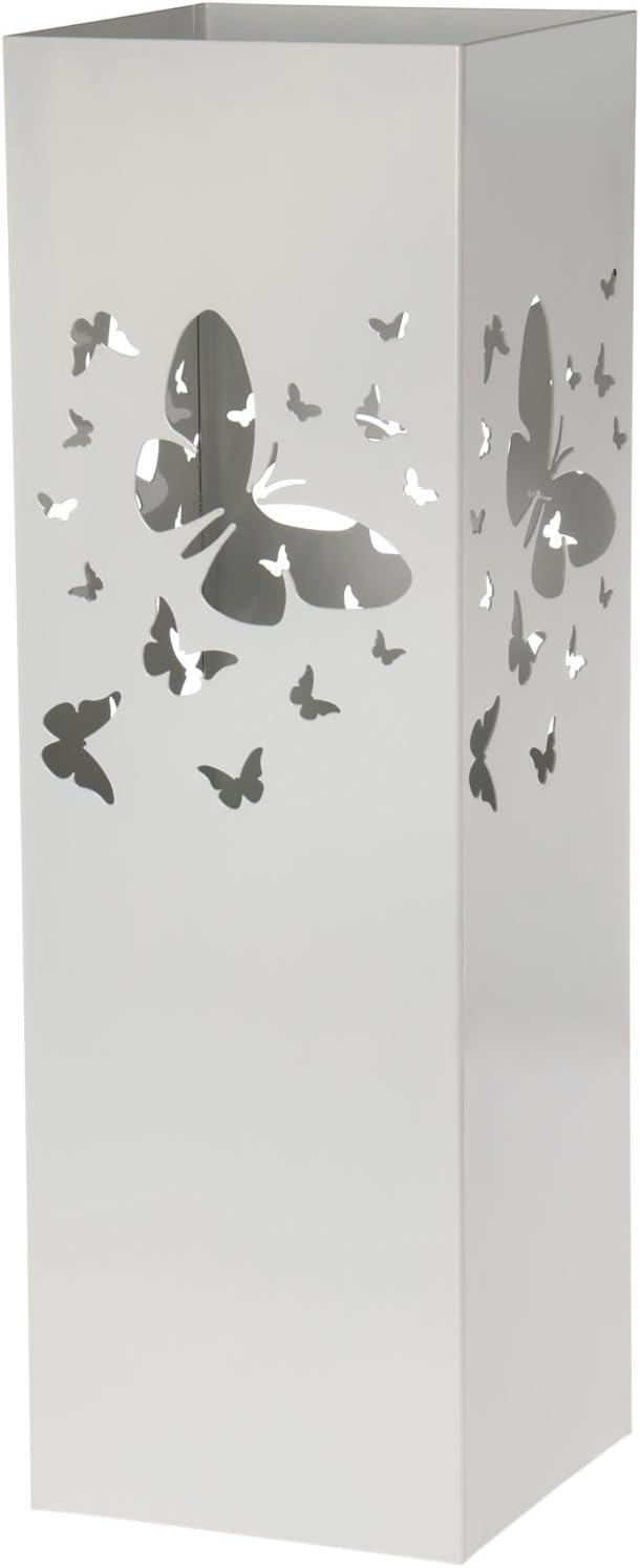 15,5/x 15,5/x 49/cm DonRegaloWeb/ in metallo Bianco con motivo di farfalle; Dimensioni Portaombrelli quadrato