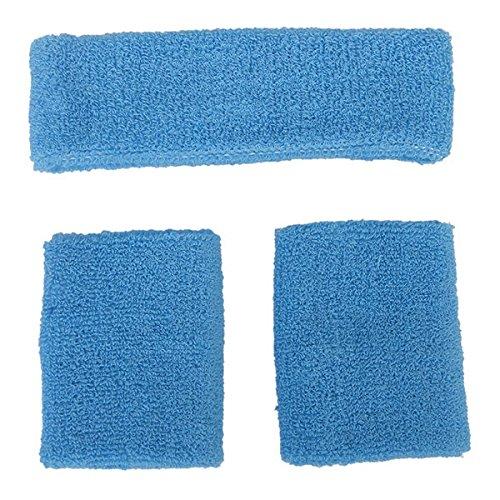 rosenice Juego de Sweatband Deportes al aire última intervensión algodón 1cinta elástica 2pulseras (Cielo Azul)