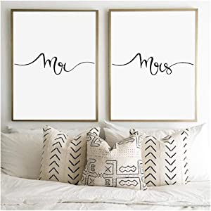 Modern Home Art Print Wall Art Canvas Poster, Gifts for Newlyweds Bedroom Romantic Wall Decor Couples Print 40x60cm(15.7x23.6in) x2 No Frame