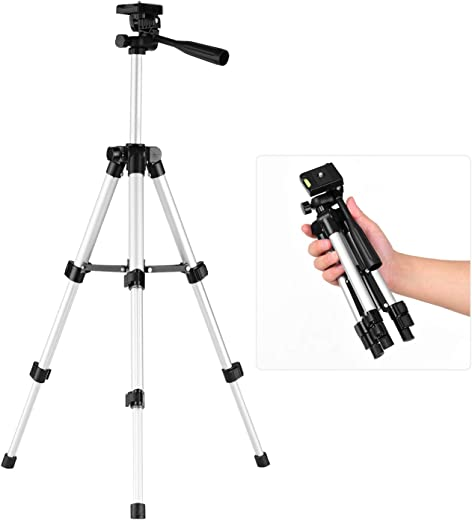 ammoon Mini Desktop Tripod Stand Aluminum Alloy 1/4 Inch Screw 21cm-48cm Adjustable Height compatible with Smartphone Live Streaming Compact LED Video Light Digital Camera