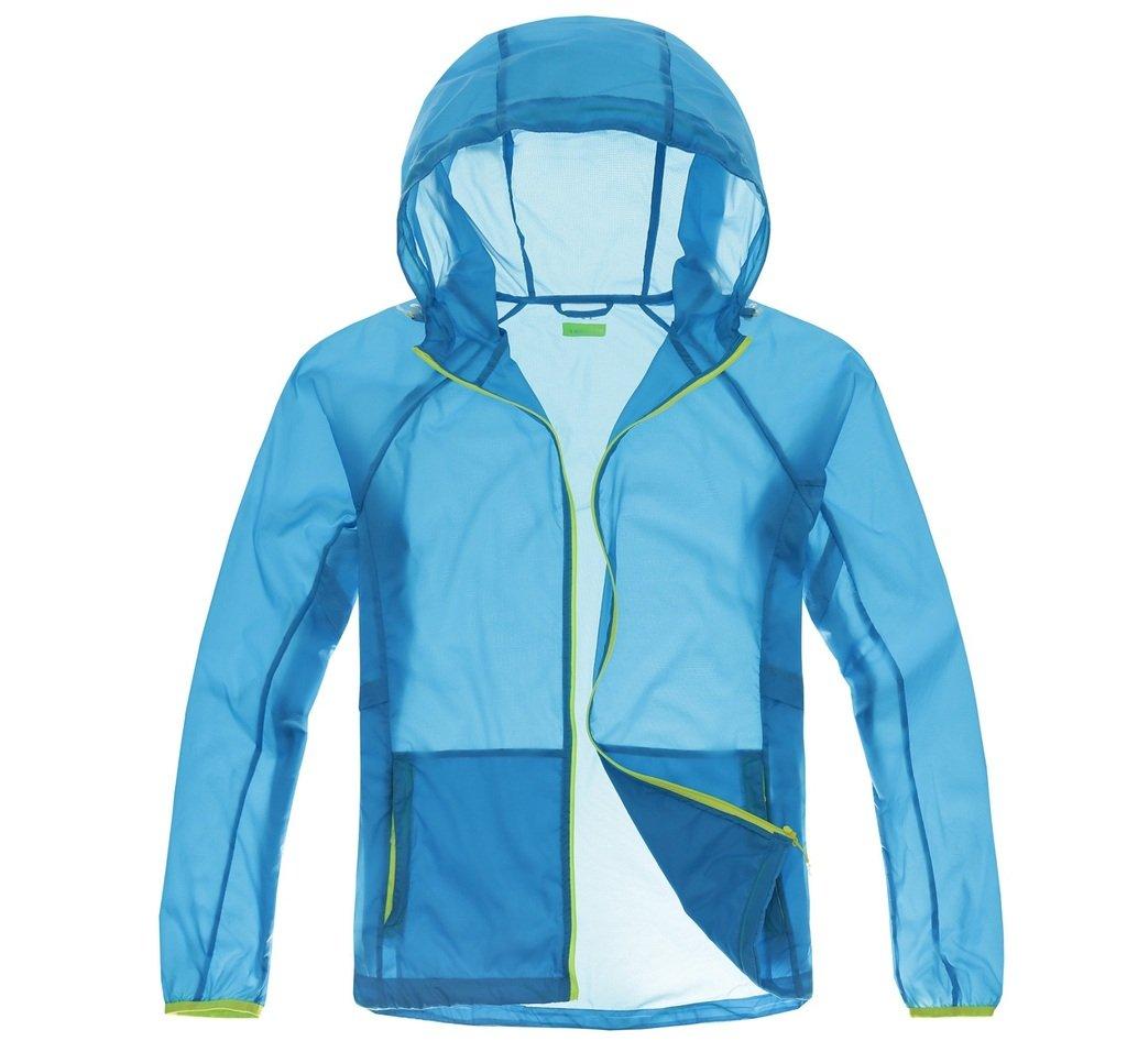 Thorn Bird Men's Super Lightweight Jacket Quick Dry Windbreaker UV Protect Coat(Large Blue)