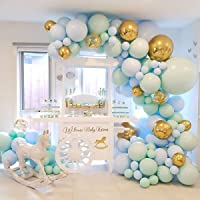 MOSfilian Birthday Party Decorations Balloon Garland – 124 Macaron Latex balloons Blue, Mintcream, Confetti Balloon…