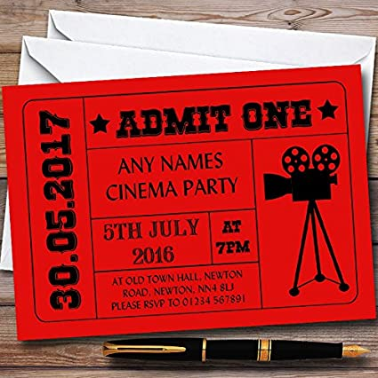 amazon com 10 x red admit one movie film cinema personalized