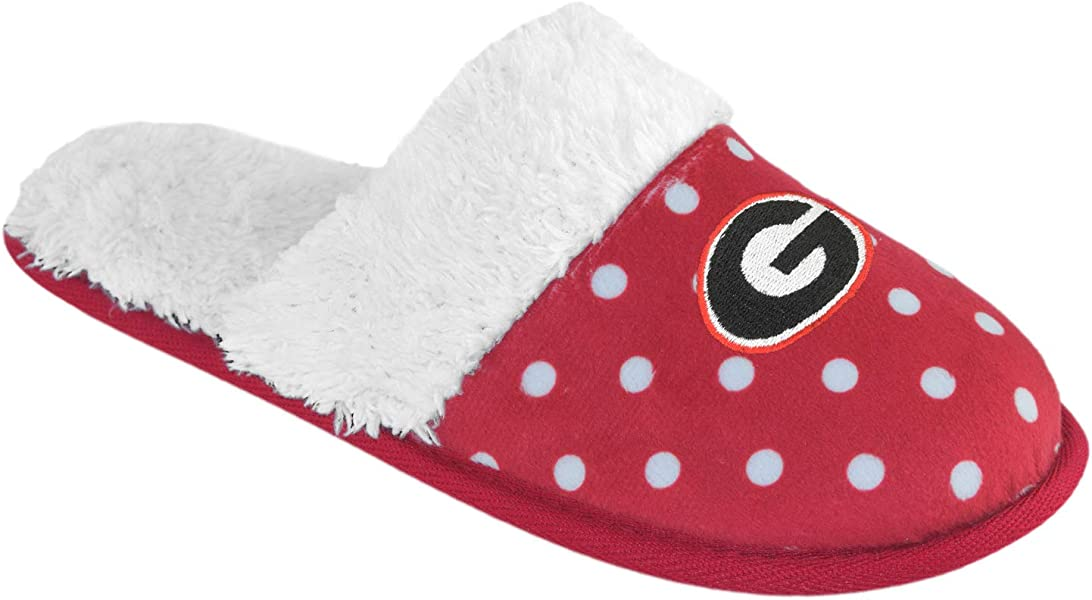 db175cfd945 Women s Dotted Deluxe Comfort Fur Slipper Slides Pick Team - (Small 5-6