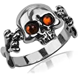 Amber and Sterling Silver Jolly Roger Ring