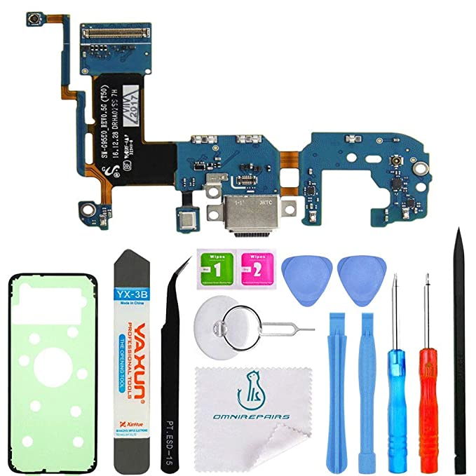 OmniRepairs Charging USB Dock Port Flex Cable Replacement with Microphone and Coaxial Antenna Compatible for Samsung