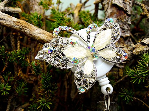 Butterfly Badge Holder Crystal Name Tag Clip Bling RN Retractable ID Reel Nurse Pinning Graduation Ceremony Gift Ideas for Mom Teacher Rhinestone Jewelry Lovely Insect Bug Design Animal Accessory -