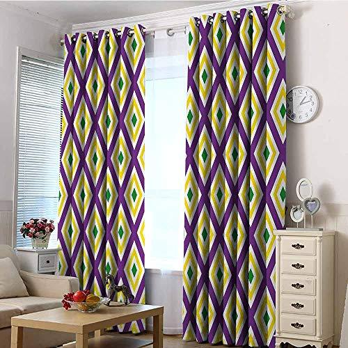 VIVIDX Extra Wide Patio Door Curtain,Mardi Gras,Room Darkening, Noise Reducing,W72x108L,Purple Yellow Green