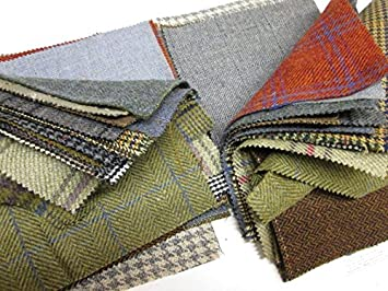Retales de tela de tweed para patchwork, 15 piezas: Amazon ...