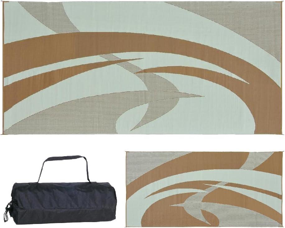 Swirl Brown//Beige, 9-Feet x 12-Feet Reversible Mats 159127 Outdoor Patio RV Camping Mat