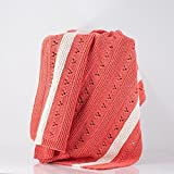 Hand Knit Baby Blanket, Lace, Modern, Coral with Cream Stripes, 100% Cotton, Baby Girl