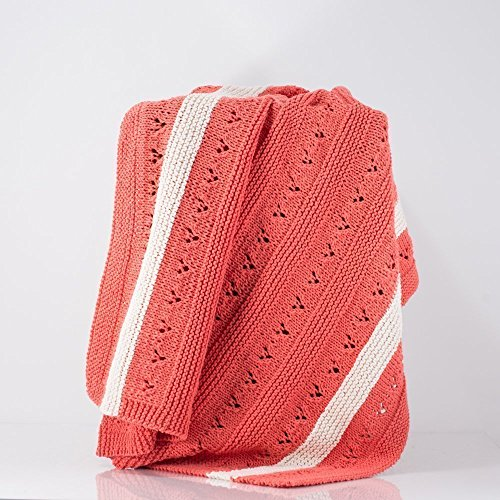 Hand Knit Baby Blanket, Lace, Modern, Coral with Cream Stripes, 100% Cotton, Baby Girl by Toasty Strings