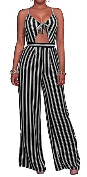 30a4a811f7a Amazon.com  Etecredpow Womens Wide Leg Striped Bodysuit V-Neck Casual High  Rise Spaghetti Strap Jumpsuit  Clothing