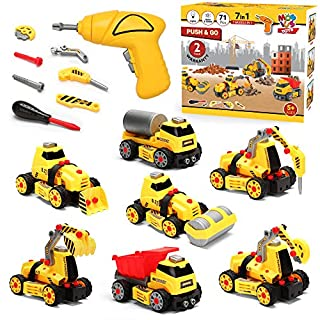 7 in 1 Take Apart Truck Construction Set - STEM Learning Toy w/ Electric Drill, DIY Engineering Building PlaySet w/ Lights, Sounds, Push & Go Educational Builder Set for Kids, Boys & Girls, Ages 4+