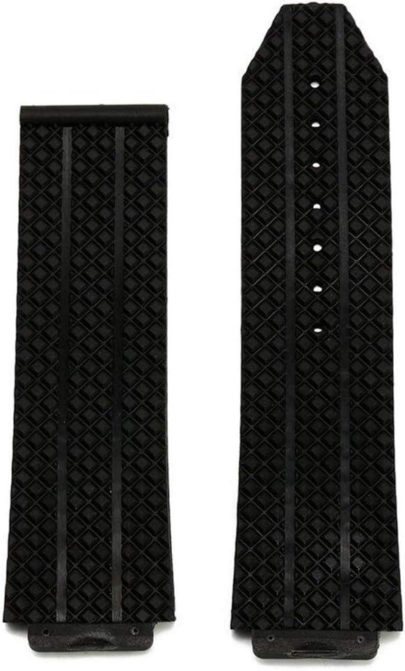 Wenzhihua Repuesto 24mm Negro Reemplazo de Goma de Silicona Banda de Reloj Correa Compatible con Hublot Big Bang Ver Banda Fusión Fáciles de reemplazar (Color : Black, Size : One Size)